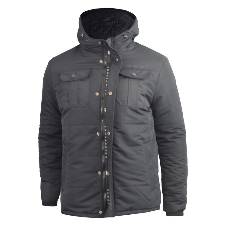 Mens Jacket Crosshatch Beekham Heavy Parka Winter Coat - Kandor Clothing Company Ltd UK
