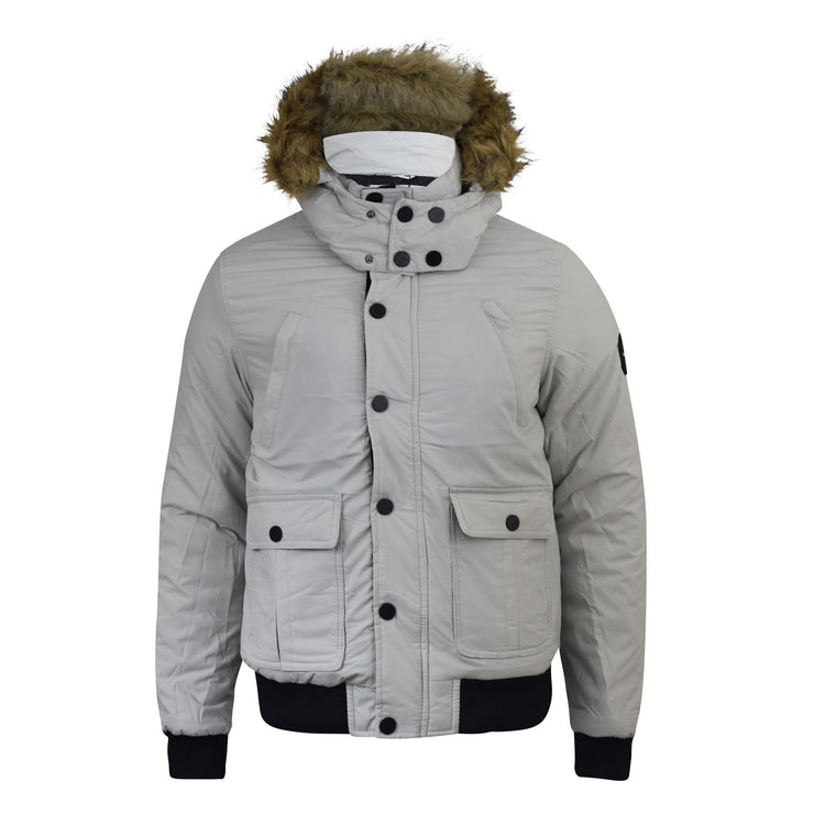 Mens Jacket Padded Winter Hooded Bareno Smith and Jones Zip Parka Coat - Kandor Clothing Company Ltd UK