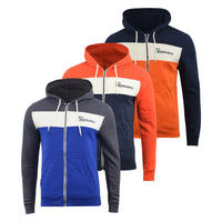 Mens Hoodie Crosshatch Sweatshirt  Full Zip Hooded Jumper Top Pullover Leveler - Kandor Clothing Company Ltd UK