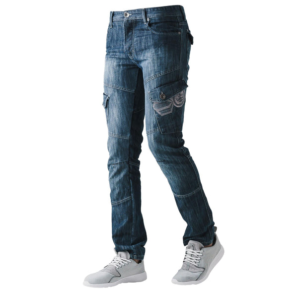Mens Jeans CROSSHATCH New Cargo Combat Denim Pants All Waist & Leg Sizes
