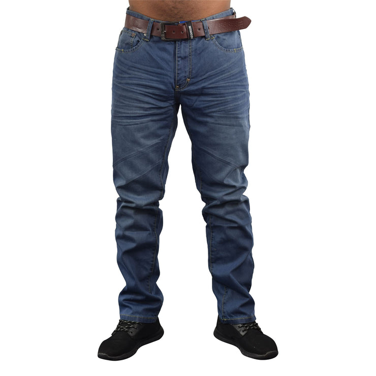 Mens Jeans Crosshatch Straight Fit Vintage Belted Denim Trouser New Farrow - Kandor Clothing Company Ltd UK