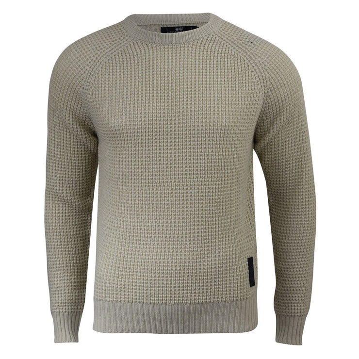 Mens Jumper Crosshatch General Waffle Knitted Crew Neck Wool Mix Sweater - Kandor Clothing Company Ltd UK