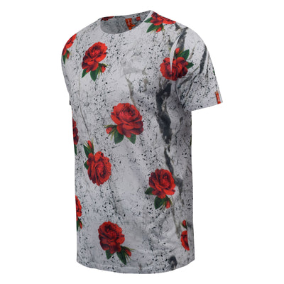 Mens T-Shirt Juice Floral Print Flower Crew Neck  Summer Tee Top - Kandor Clothing Company Ltd UK