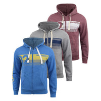 Mens Hoodie Crosshatch Sweatshirt Full Zip  Hooded Jumper Top Pullover KEMPWORTH