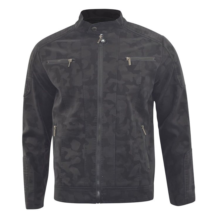 Mens Biker Jacket D-Rock Classic Camo Faux Leather Bomber Coat - Kandor Clothing Company Ltd UK