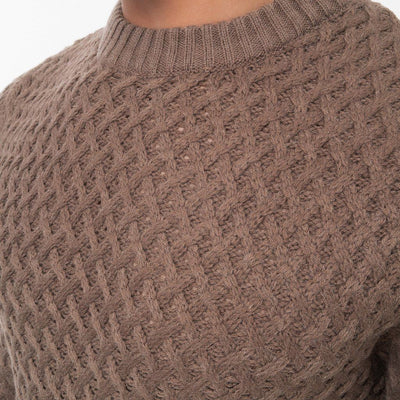 Mens Jumper Crosshatch Crew Neck Knitwear Sweatshirt Sweater Hopeton