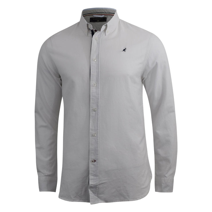 Mens Oxford Shirt Kangol Long Sleeve Lanundered Casual Shirt - Kandor Clothing Company Ltd UK
