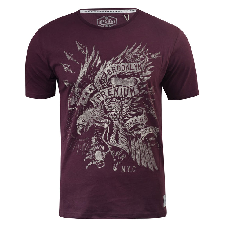 Mens T-shirt Life and Glory Short Sleeve Graphic Vintage Tee Top - Kandor Clothing Company Ltd UK