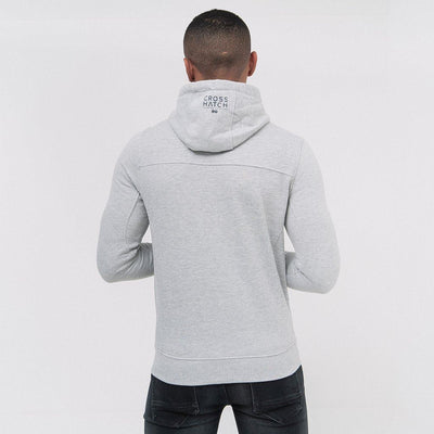 Mens Hoodie Crosshatch Sweatshirt Full Zip  Hooded Jumper Top Pullover TIDES