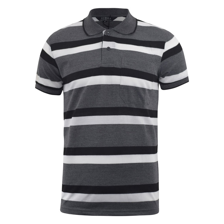 Mens Polo Shirt JJ Willis Stripe Summer Pique Tee Top Devin - Kandor Clothing Company Ltd UK