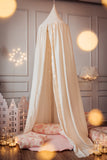 Beige cream and gold glitter dot canopy kidsroom decor