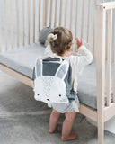 Toddler with Mister Fly Kids grey Bunny backpack