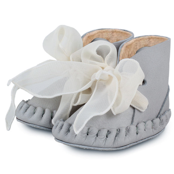 Pina Lining Organza grey baby shoes, prewalker booties
