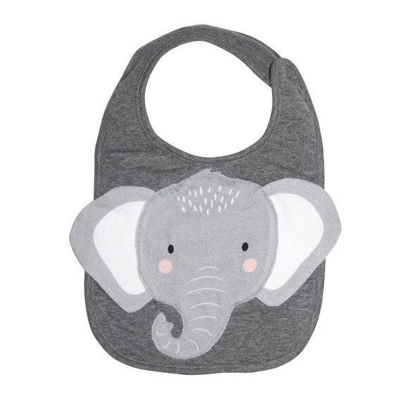 Mister Fly Kids grey Elephant animal face cotton bib