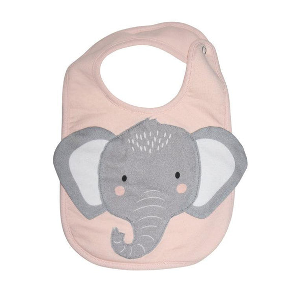 Mister Fly Kids Pink Elephant animal face cotton bib