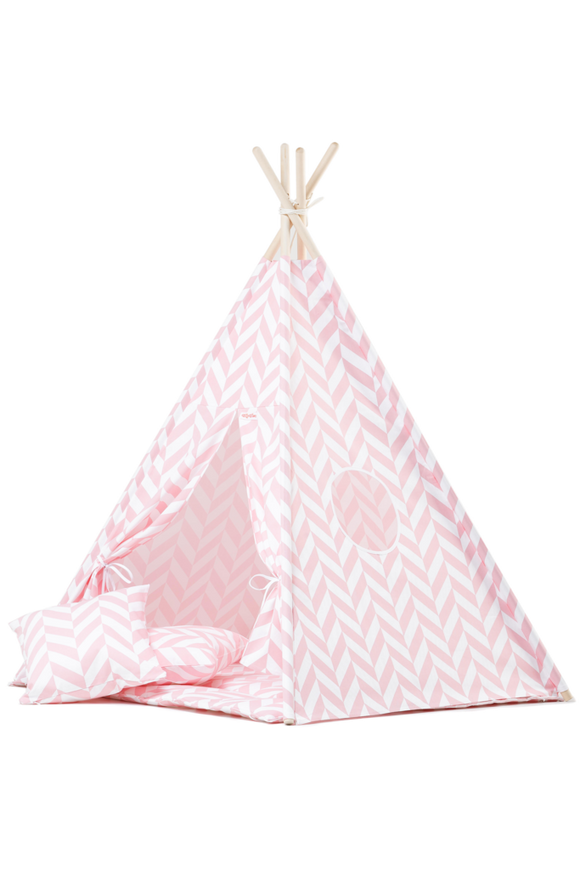 Herringbone pink teepee tent for kids