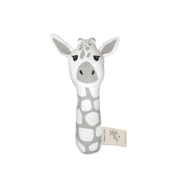 Mister Fly Giraffe stick rattle in cotton