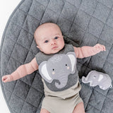 Baby with Mister Fly Kids grey Elephant animal face cotton bib