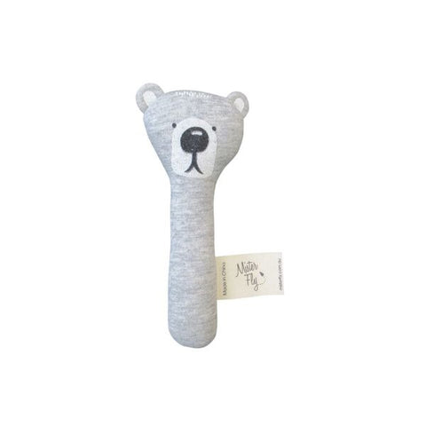 Mister Fly Bear stick rattle in cotton
