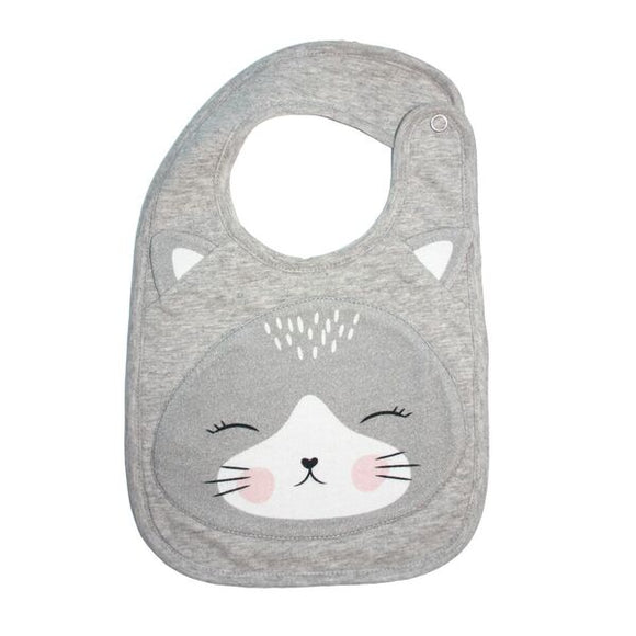 Cat face cotton bib
