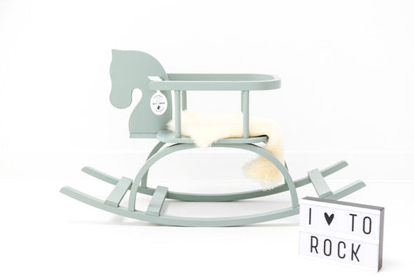 Wooden rocking horse green cavallo a dondolo in legno