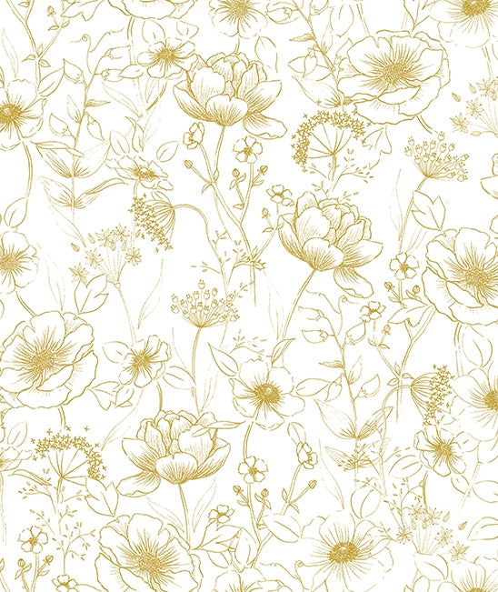 Gold Flowers Wallpaper