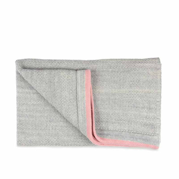 Grey moss knit baby blanket with blossom pink edge