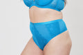 Lace and Logo High Waist Thong - Teal
