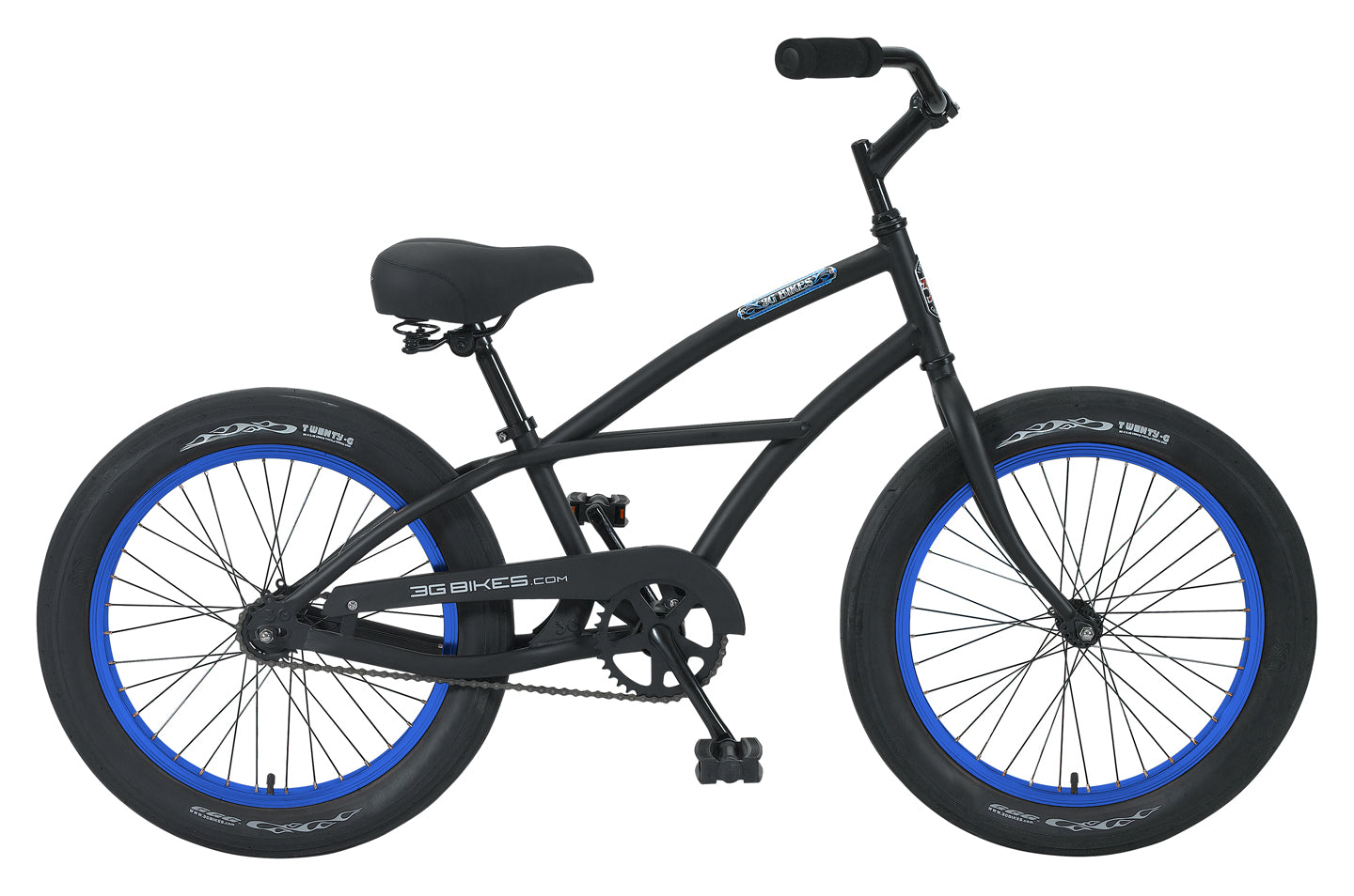 "3G Axle 1 Speed Boys 20""Bike Matte Black with Blue Rims"