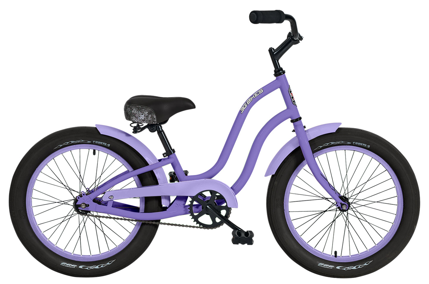 "3G Gigi 1 Speed Girls 20"" Deluxe Bike - Soft Pink with Purple Rims & Fender"
