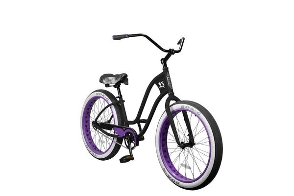 3G Newport Single Speed BBW Lady's Matte Black with Purple Checker Rims