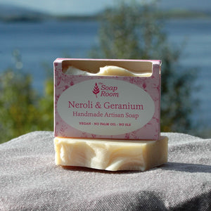 vegan handmade soaps natural soap neroli geranium artisan soap handmade in galway olive oil soap shea butter essential oil made in galway ireland