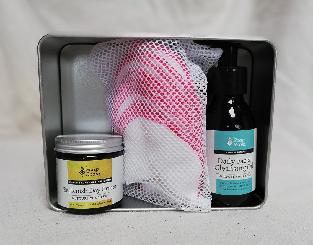 gift box birthday celebration mother's day father's day christmas gift special occasion special person tin box organic cloth washable cleansing pads cleansing oil organic moisturiser skin face cream soft feel handmade skin care natural skin care plant based skin care vegan vegetarian free shipping made in galway ireland
