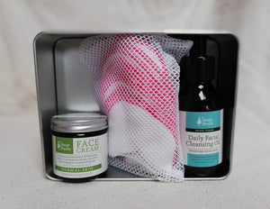 gift box birthday celebration mother's day father's day christmas gift special occasion special person tin box organic cloth washable cleansing pads cleansing oil normal skin face cream soft feel handmade skin care natural skin care plant based skin care vegan vegetarian free shipping made in galway ireland