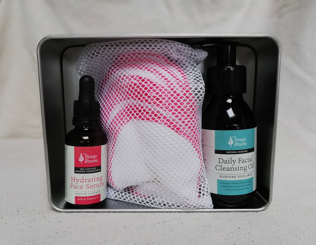 gift box birthday celebration mother's day father's day christmas gift special occasion special person tin box organic cloth washable cleansing pads cleansing oil organic serum soft feel handmade skin care natural skin care plant based skin care vegan free shipping made in galway ireland