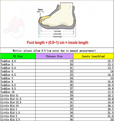 Chinese and US Shoe Size Chart for Kids
