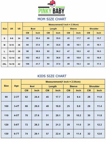 mom and daughter size chart