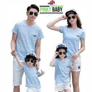Blue T-Shirt and White Shorts Family Outfit
