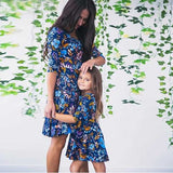 Mom and Daughter Blue Floral Dress