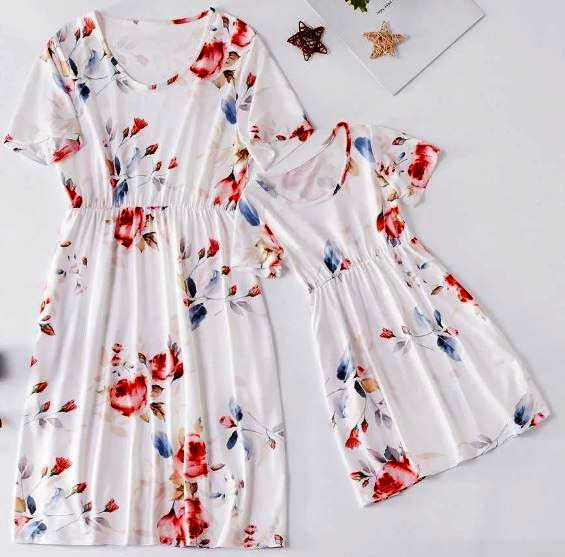 White Floral Dress for Mom & Daughter
