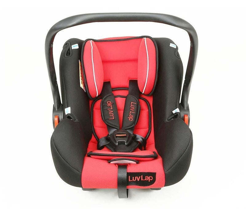 Luvlap Infant Baby Car Seat Cum Carry Cot and Rocker with Canopy Suitable for 0-15 Month Baby (0-13kgs) - Red - Pinkybaby.in