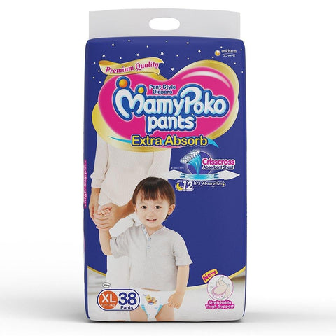 MamyPoko Pants Extra Absorb Diaper Extra Large Size(38 Count) - Pinkybaby.in