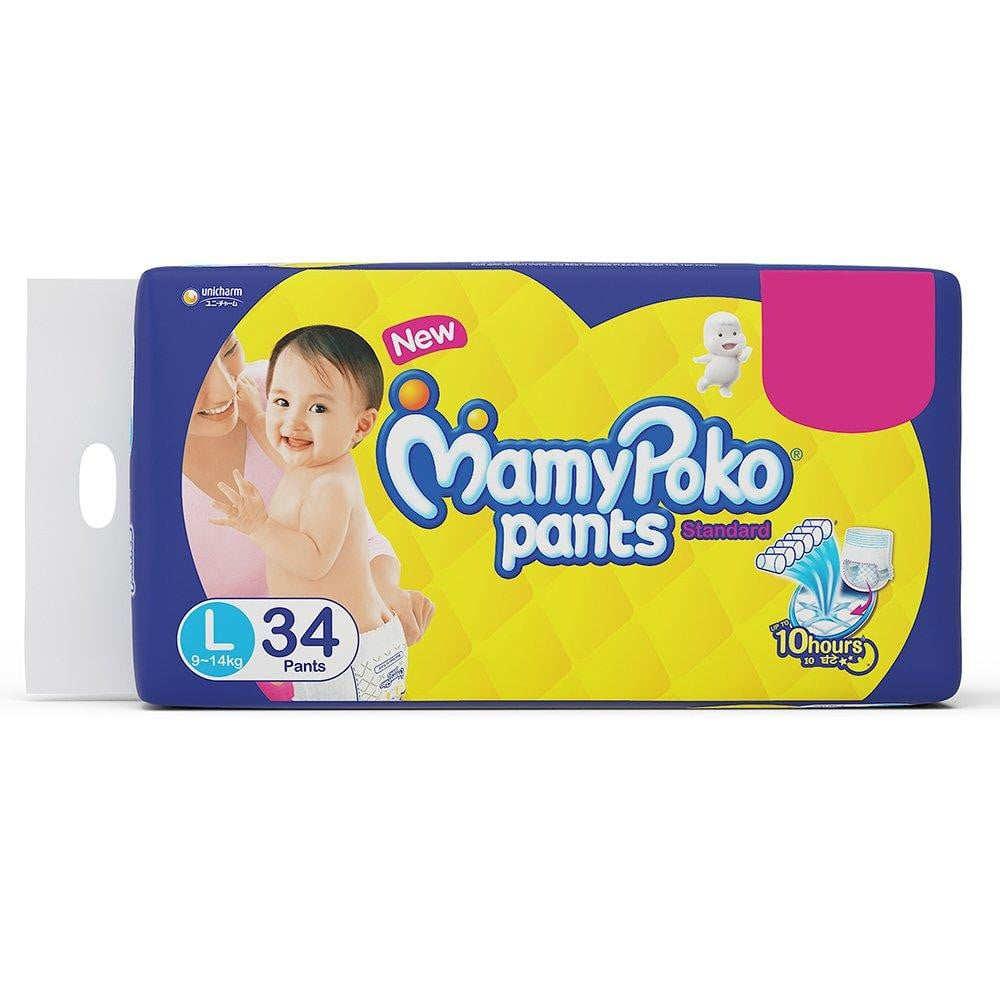 MamyPoko Pants Standard Diapers, Large (Pack of 34) - Pinkybaby.in
