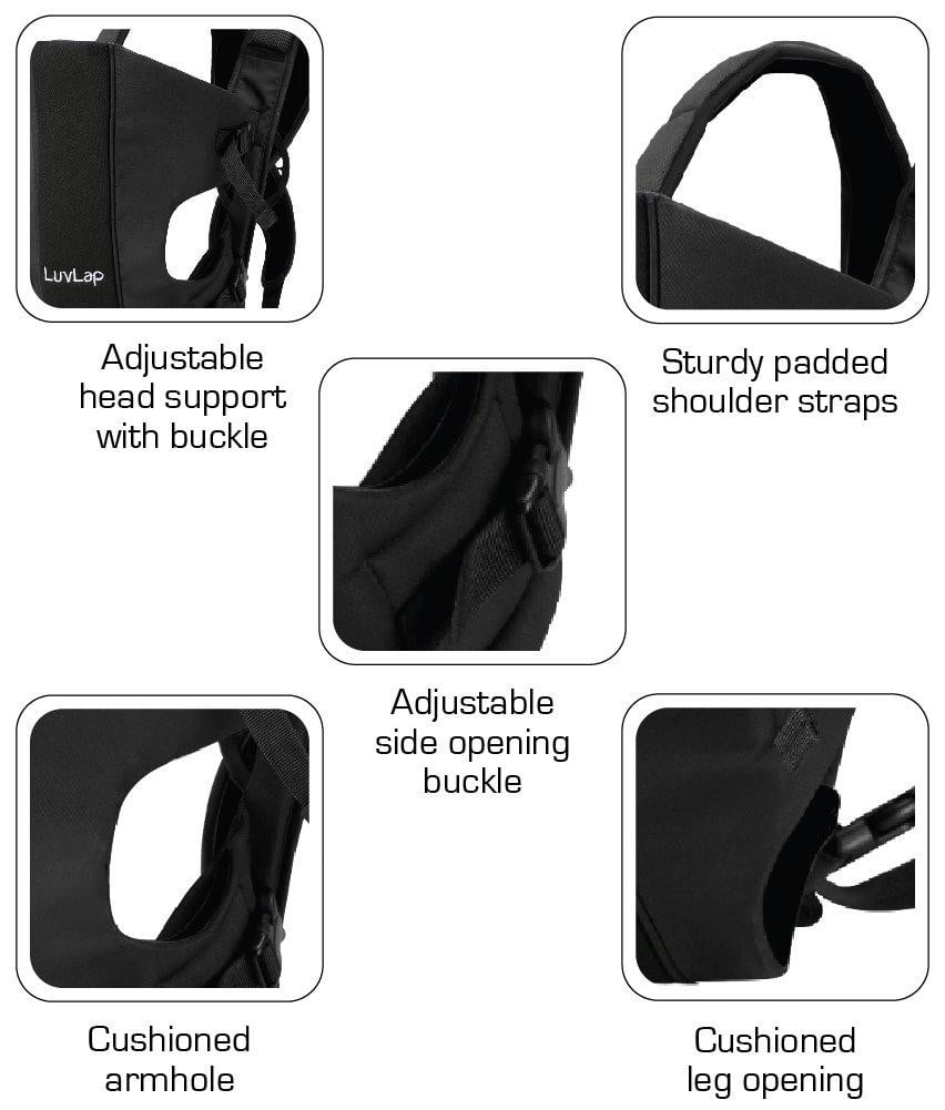 LuvLap Sunshine Baby Carrier (Black) - Pinkybaby.in