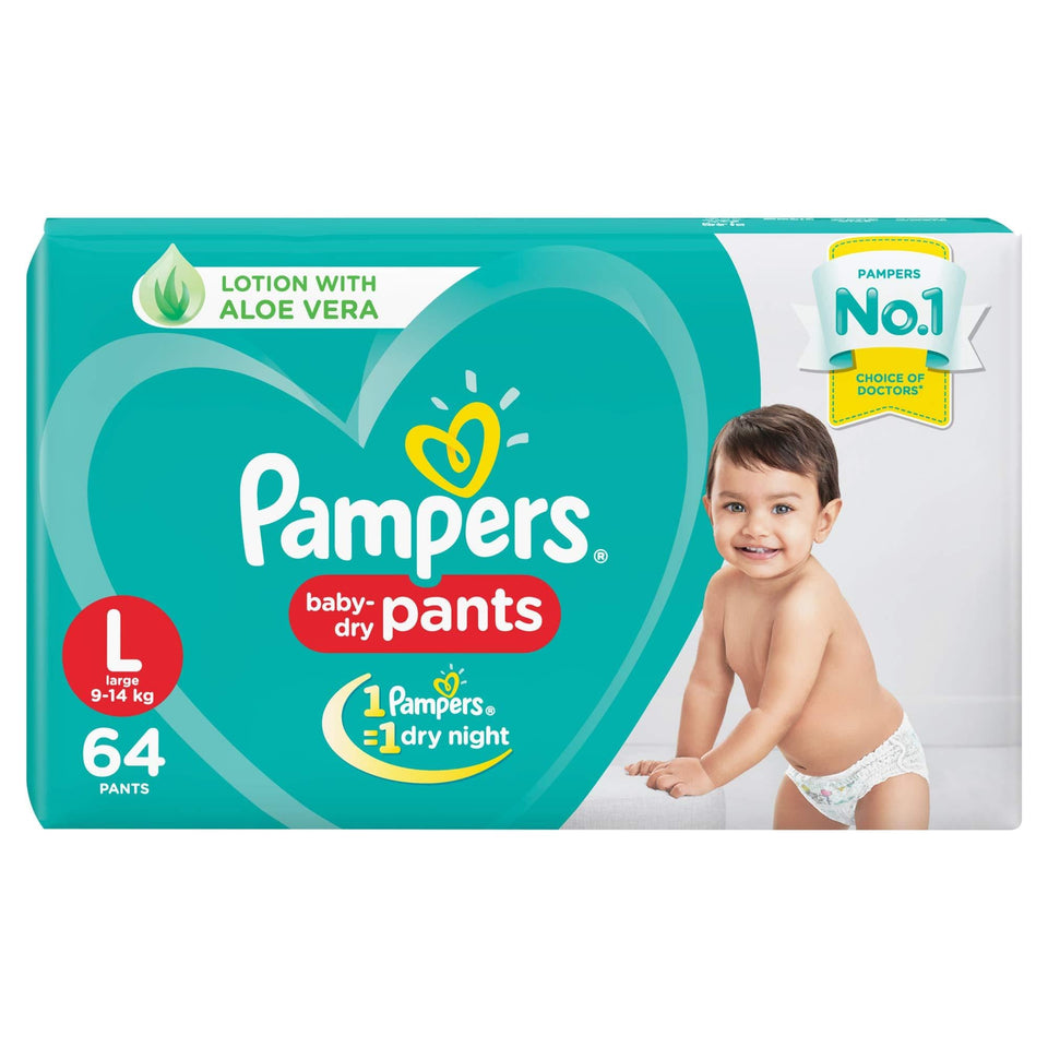 Pampers New Diapers Pants, Large (64 Count) - Pinkybaby.in