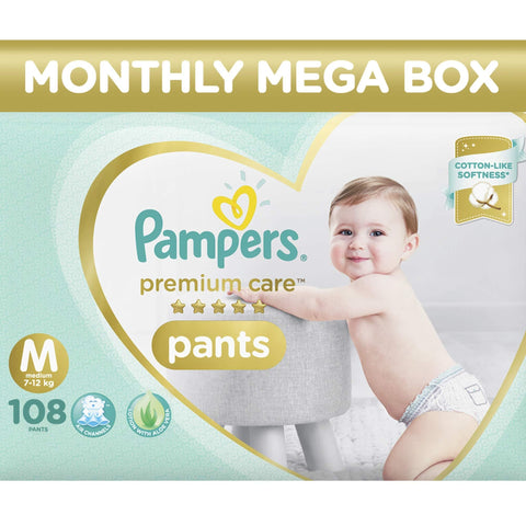 Pampers Premium Care Pants Diapers Monthly Box Pack, Medium, 108 Count - Pinkybaby.in