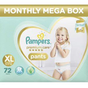 Pampers Premium Care Pants Diapers Monthly Box Pack, X-Large, 72 Count - Pinkybaby.in