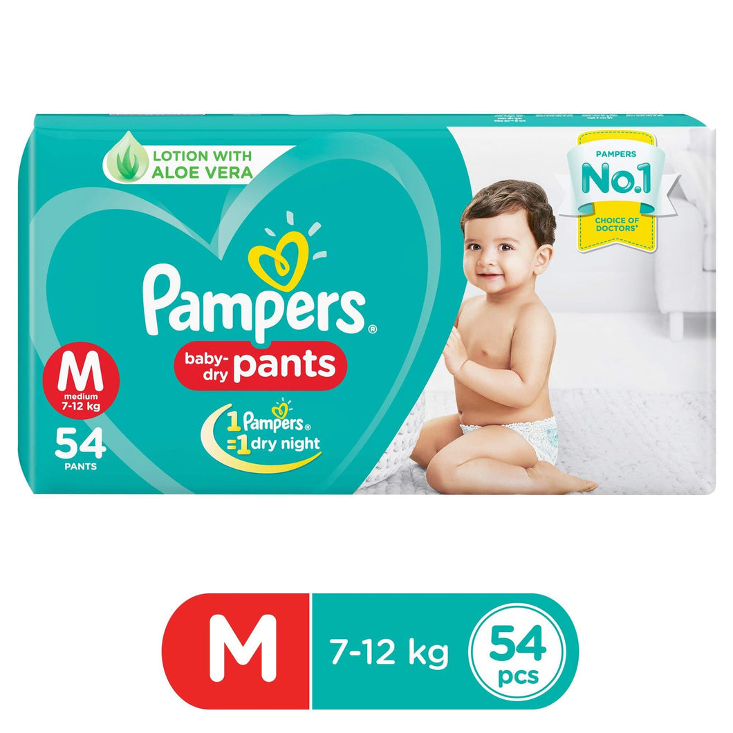 Pampers New Diapers Pants, Medium (54 Count) - Pinkybaby.in