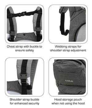 Luvlap Elite Baby Carrier (Gray) - Pinkybaby.in