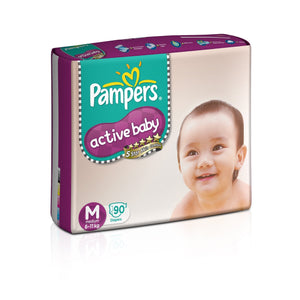 Pampers Active Baby Diapers, Medium (90 Count) - Pinkybaby.in